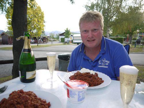 Champagne supper at Hamner camp